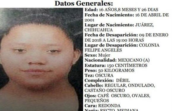 Piden apoyo para localizar a jovencita desaparecida en Ciudad Juarez