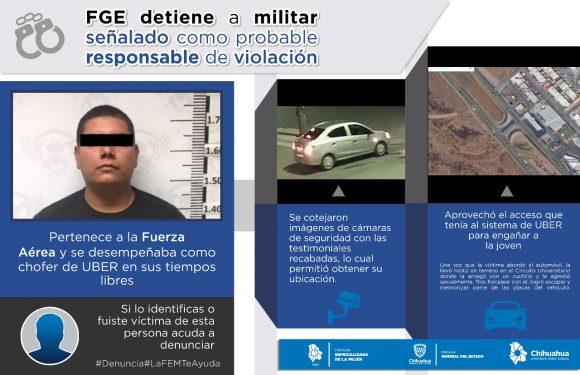 Detienen a militar por violación, conducía vehiculo UBER