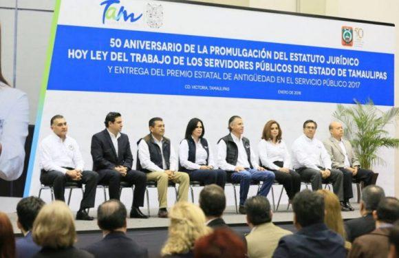 GOBIERNO DE TAMAULIPAS ANUNCIA INCREMENTOS SALARIALES Y ENTREGA PREMIOS DE ANTIGÜEDAD PARA BURÓCRATAS ESTATALES