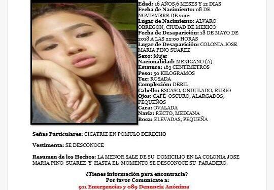 Juarez | Activa FEM búsqueda de menor desaparecida en Ciudad Juarez