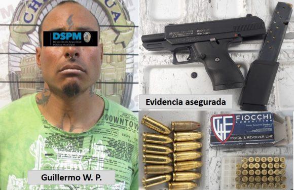 Lo detienen con arma y cartuchos en Nuevo Delicias