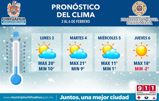 #Chihuahua | Se prevé descenso de la temperatura para el próximo miércoles en la capital