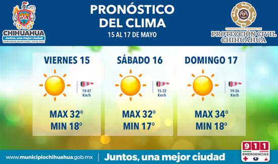 Se espera fin de semana caluroso con 34°C como máxima: Protección Civil Municipal