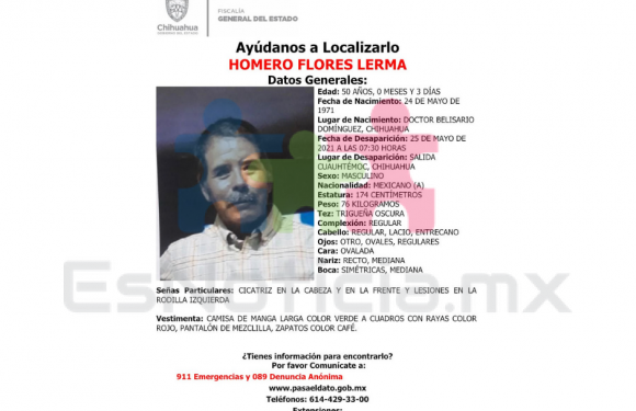 Cuauhtémoc | Realizan acciones de búsqueda para localizar a hombre reportado como ausente